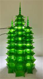 Qing Dys Carved Green Jade 9 Level Tower