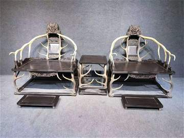 Qianlong Marked Pair of Handwood Chair