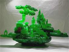 Qing Dys Green Jadeite Carved Buddha and Pine Trees