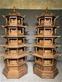 Very Rare A Pair of Large Huali Wood Carved Tower
