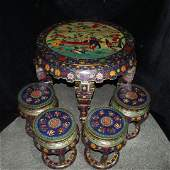 18C Rare A Set of Chinese Cloisonne Table