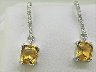 18k White Gold Citrine and Diamond earring