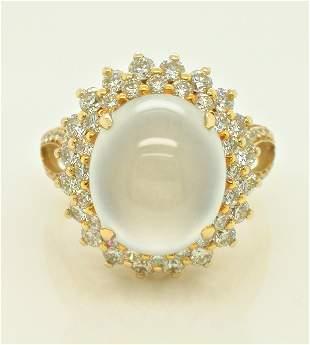 18K yellow Gold Jade & Diamond ring