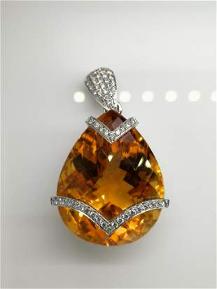 18K white gold citrine & diamond pendant