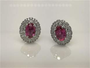 18K white gold pink tourmaline & diamond earrings