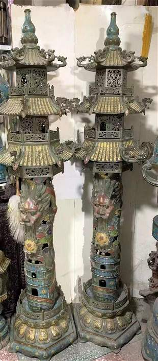 A pair of cloisonne Chinese dragon pillar censers from