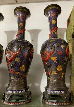 A pair of Blue cloisonne dynasty dragon vases from the