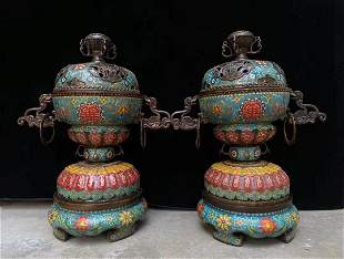 A pair of cloisonne enamel ring furnaces with