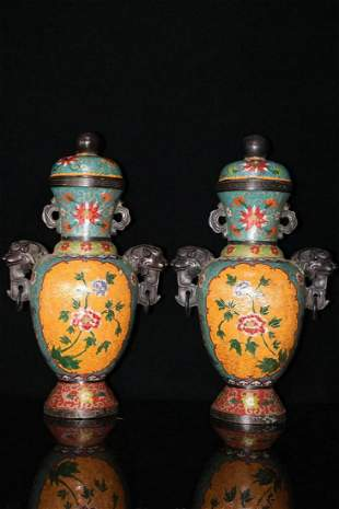 A pair of pure copper hand-made cloisonné enamel