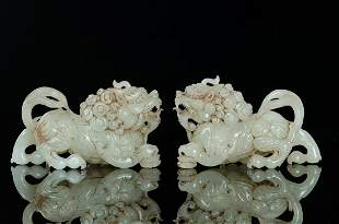 The old collection, a pair of Hetian Yuming and Qing