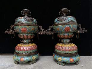 A pair of cloisonne copper enamel ring furnaces, a
