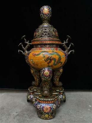 Cloisonne copper enamel Lingzhi incense burner, height