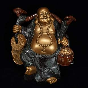 Qing Dynasty Qianlong Bronze Color Gilt Ruyi Buddha