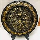 A Qing Dys 24k gold gilt Bronze carved Dragon Plate