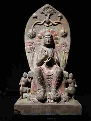 A Lager stone Carved Buddha