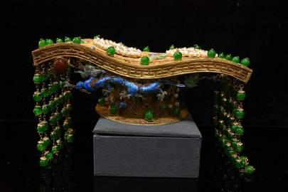 Silver gilt, multi-treasure inlaid crown, copper gilt