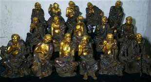 Rare 16 Lohan sages of gilt copper and real gold, a set