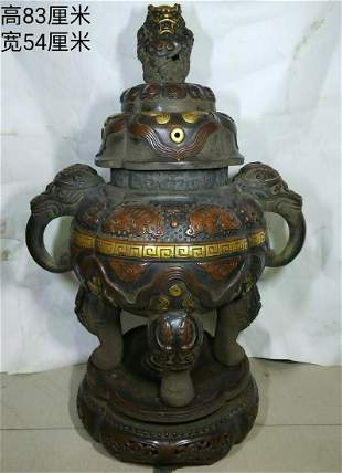 Gold gilt copper incense burner, weight 66 kg