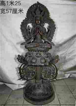 Bronze lotus flame Guanyin, weight 37.55 kg