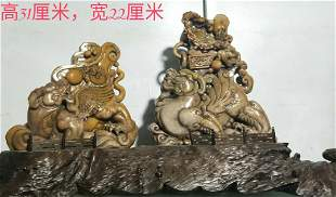 A pair of Shoushan stone ancient beast two chain stamps