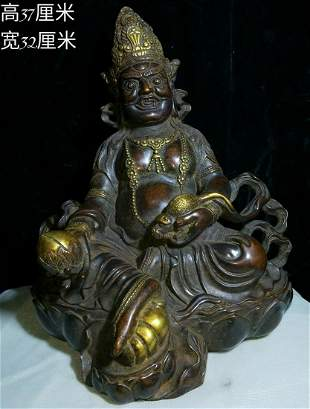 The gold gilt bronze god of wealth the weight is 10.15
