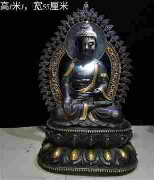 Gilt bronze real gold Buddha statue the weight is 89.6