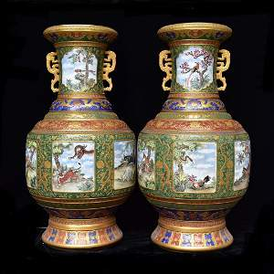 A Larg Pair gilt and enamel double-eared vase with 12