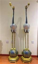 Pair of Cloisonne cranes , Height: 66 inches-168 cm.