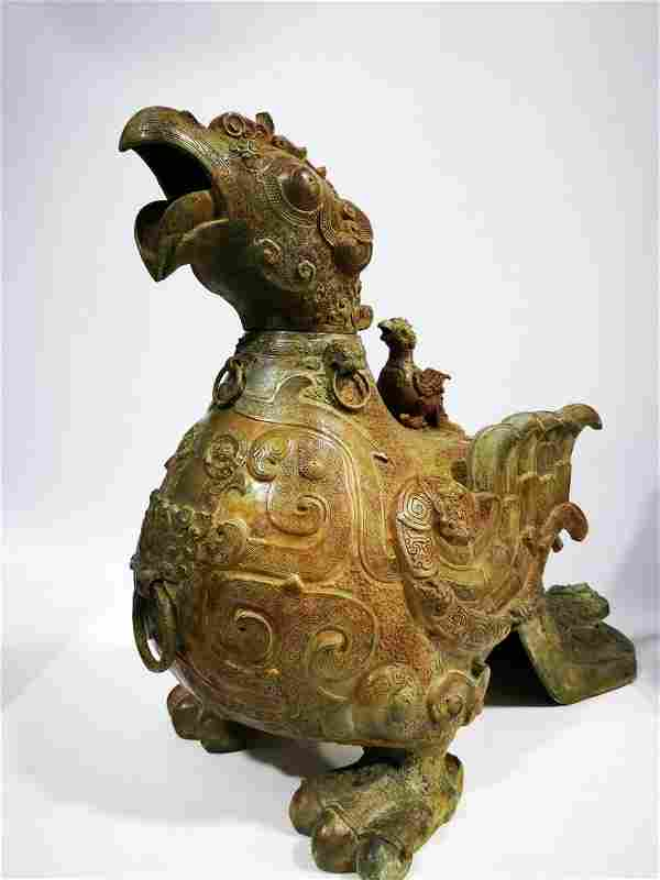 Bronze bird with Kuilong pattern during the Spring and