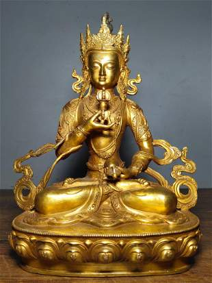 A collection of pure copper gilt Buddha statues