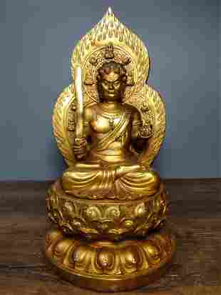 Old collection of pure copper gilt Buddha statues Fudo