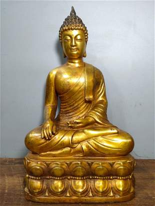 Old collection of pure copper gilt Buddha statues, a