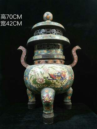Copper cloisonné enamel made during the Qianlong