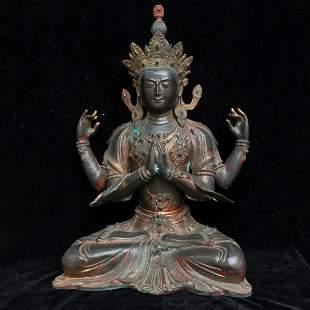 Pure copper Buddha statue, height 52 cm, width 37 cm,