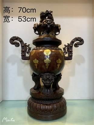 Pure copper gilt gold incense burner