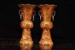 Collection of gilt bronze and real gold, a pair of