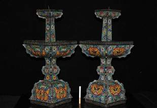 Collection of red copper and old copper tire cloisonne