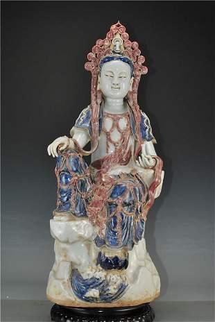 Porcelain Yuan blue and white glaze red holding bottle