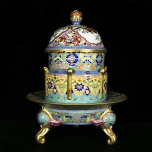 Qing Dynasty Qianlong green enamel painted gold Fushou