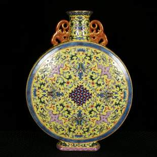 A double-eared flat vase with enamel painted gold and