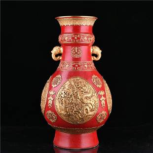 Qing Dynasty Qianlong coral red glaze grilled gilt gold