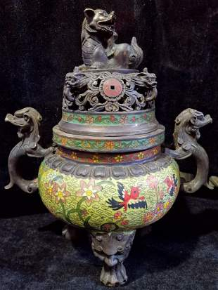 Old Tibetan dynasty cloisonne bronze dragon, lion and