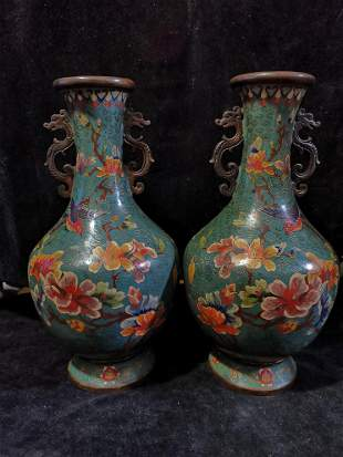 A pair of cloisonne and red bronze Huanian dragon vases