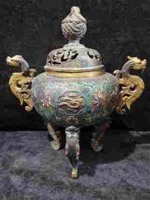 Old Tibetan gilt cloisonne hollow dragon and lion