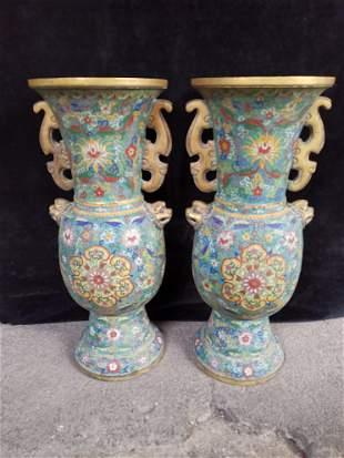 Old Tibetan Dynasty Gilt Cloisonne Vase Pair 30.5 kg