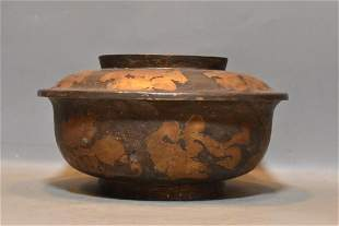 Gilt bronze and silver-plated bowl with lid, unique