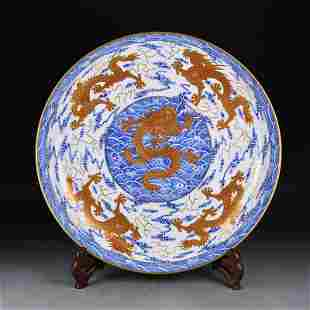 Qing Dynasty Qianlong blue and white alum and red