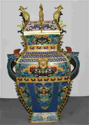 A real gold cloisonné beast face phoenix statue vase