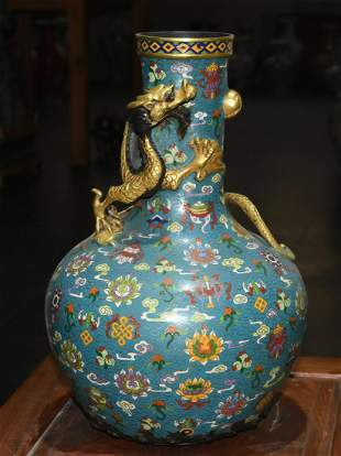 Eight-treasure vase with real gold cloisonné dragons