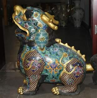 Fine gold cloisonné lion and unicorn incense burner